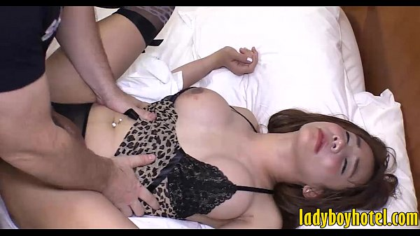 Busty ladyboy in lingerie anal screwed by big hard dick
